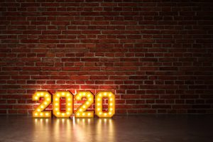 2020 in lights with brick wall background